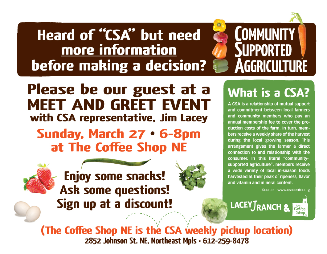 Csa Meet And Greet Event This Weekend 327 The Coffee Shop Northeast