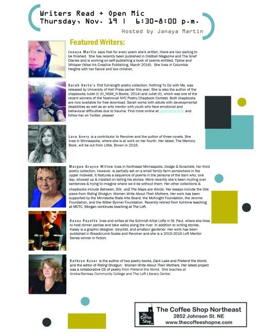 Writers Read Nov 19